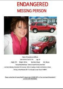 An official Missing Persons report was filed w/ #Shawneetown #Illinois Police Dep't on 12-3-13 after Chrissy Lea Williams didn't come home the night before. She was last seen in #Rosiclare IL (Hardin County) & is considered ENDANGERED & was driving a 2011 Ford Escape w/ Illinois plate 1189917. Her car hasn't been found. If you've info call you're local law enforcement or IL State Police 618-382-1911