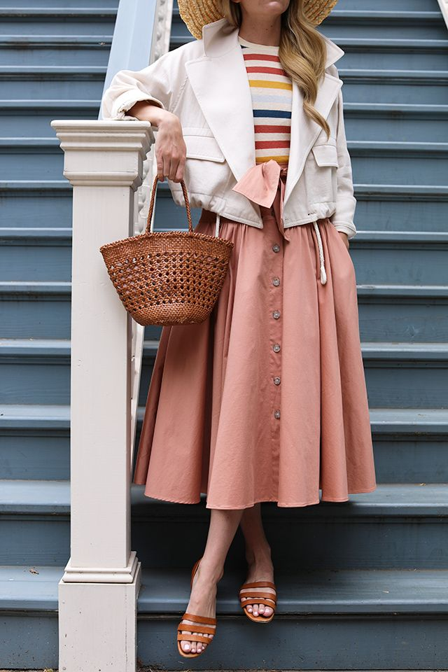 a4b914141d2d A striped tee with a linen jacket and bow skirt // All about stripes on  Atlantic-Pacific