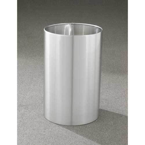 18 Gallon 15 x 23 Open Top Office Wastebasket Satin Aluminum - outdoor & indoor trash cans, recycle bins, & ashtrays for commercial, office or home.