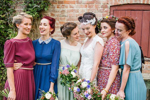 Bridesmaids in different colour vintage dresses. http://emmacasephotography.com/