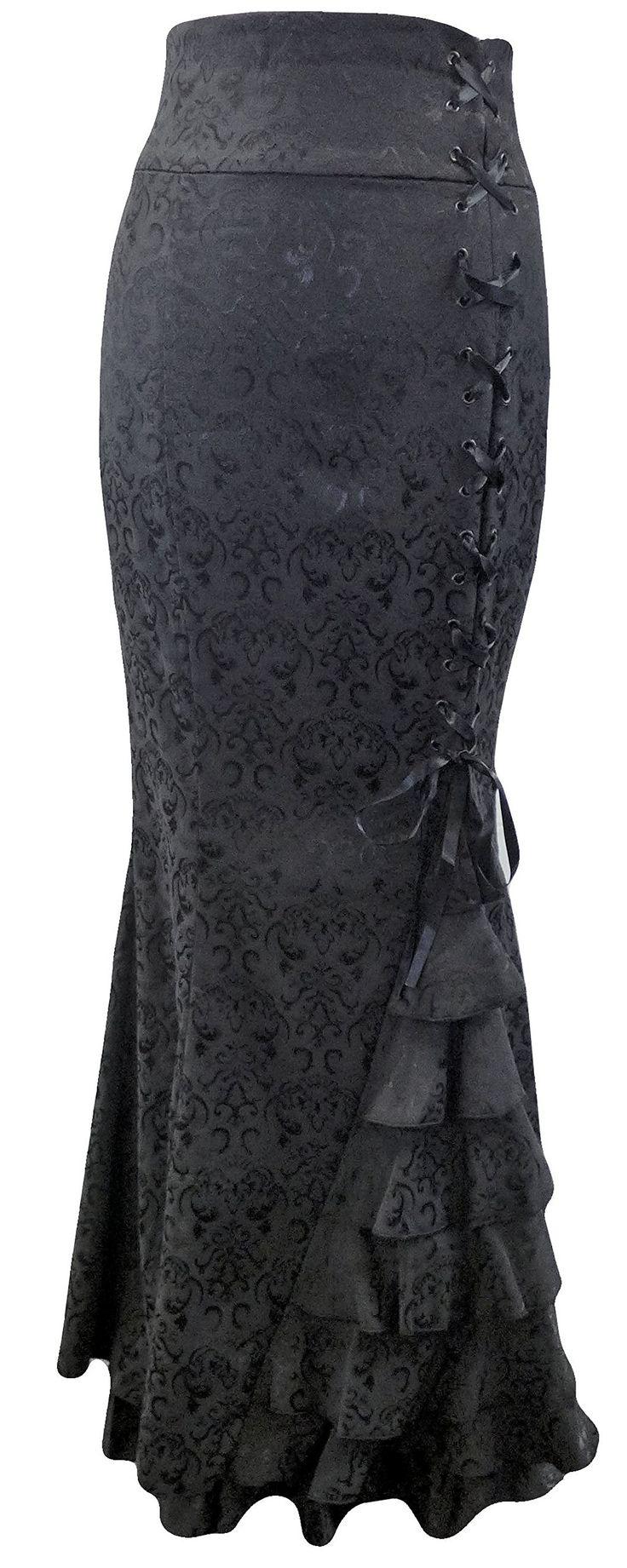 Size 14/16 Black Corset Ruffle Fishtail Brocade Jacquard Larp Gothic Long Morticia Skirt at Amazon Women's Clothing store: