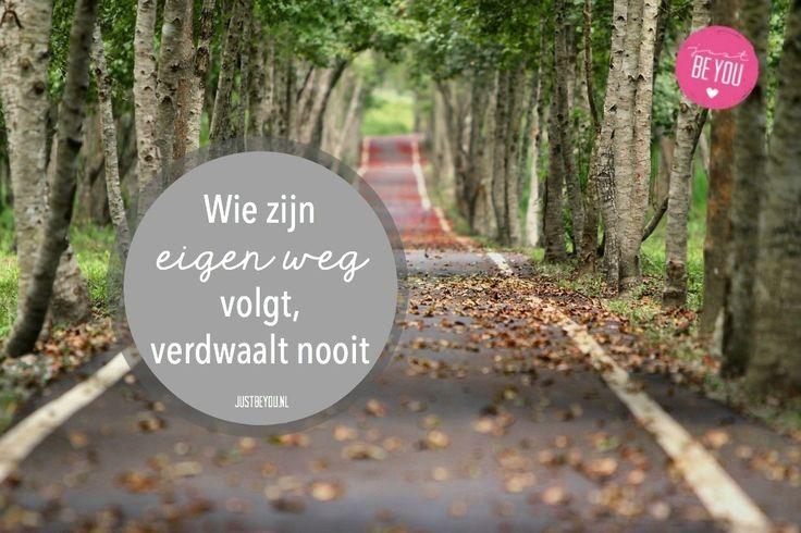 Wie zijn eigen weg volgt, verdwaalt nooit. | justbeyou.nl