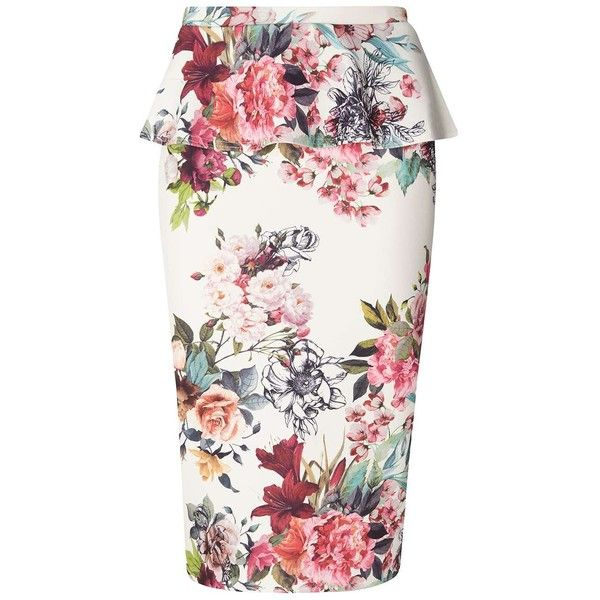 Dorothy Perkins Ivory Floral Pephem Pencil Skirt (60 CAD) ❤ liked on Polyvore featuring skirts, white, winter white skirt, floral pencil skirt, white skirt, flower print pencil skirt and floral-print pencil skirts