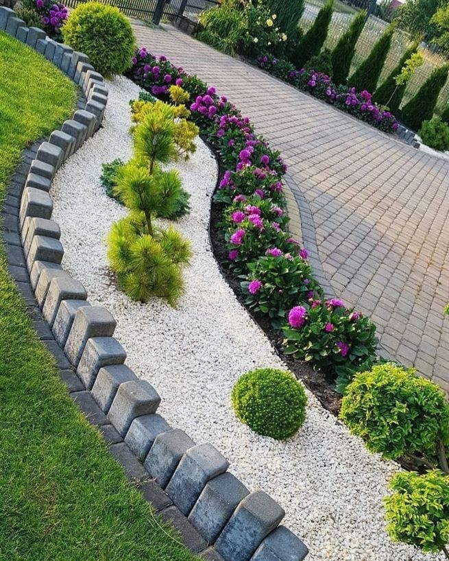 How To Landscape Front Yard On A Budget Landscape For Kids Drawing Landscaping Tips Landsc In 2020 Easy Landscaping Courtyard Landscaping Simple Garden Designs