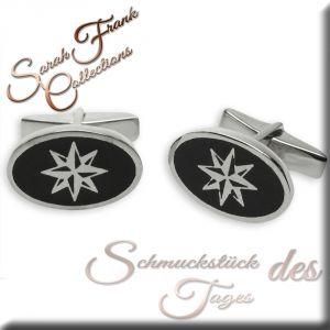 Manschettenknöpfe schwarz - Silber 925/000