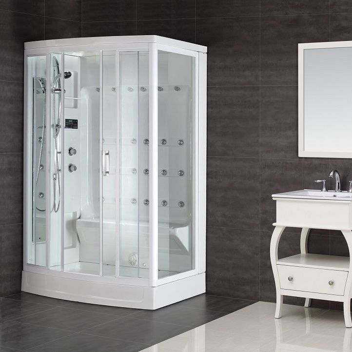 Take showering to a new level with this 24-jet steam shower. Packed with features, it has a built-in steam generator, an overhead rainfall shower, a handheld shower, and an LED push-button radio that lets you listen to music while you freshen up.