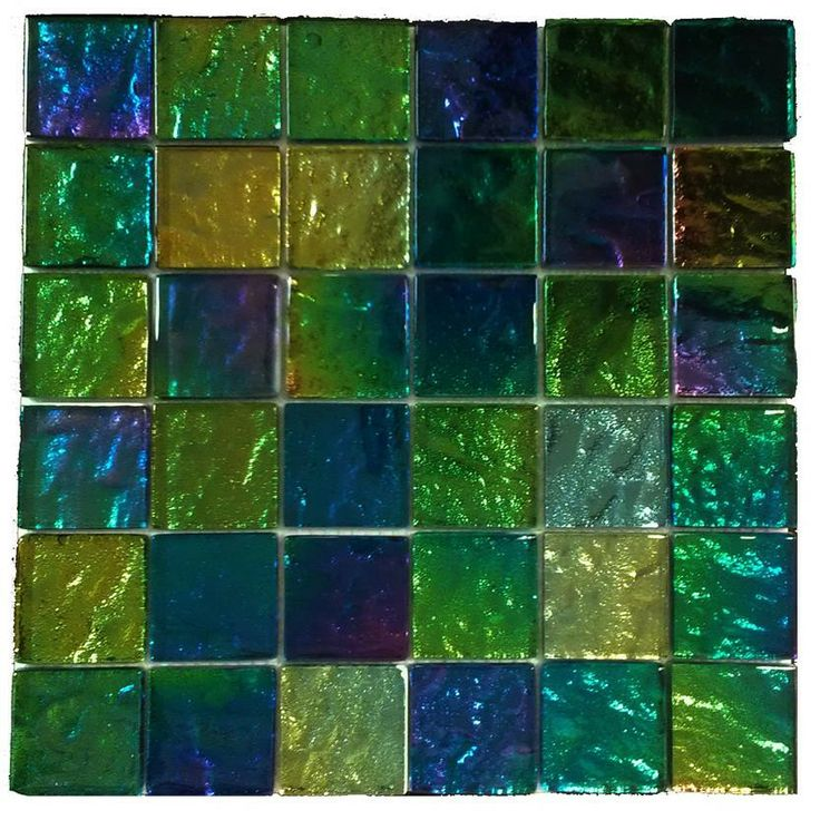 Iridescent Mardi Gras Squares Glass Tile $17.50