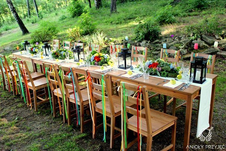 2. Forest Wedding,Outdoor reception decor,Colorful Rustic decoration / Leśne wesele,Wesele w plenerze,Kolorowe Rustykalne dekoracje,Anioły Przyjęć