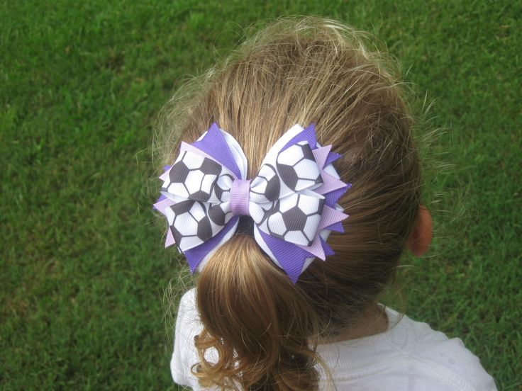 Soccer Bow  Purple and Lavender  PICK  COLOR SPRAYS. $6.50, via Etsy.