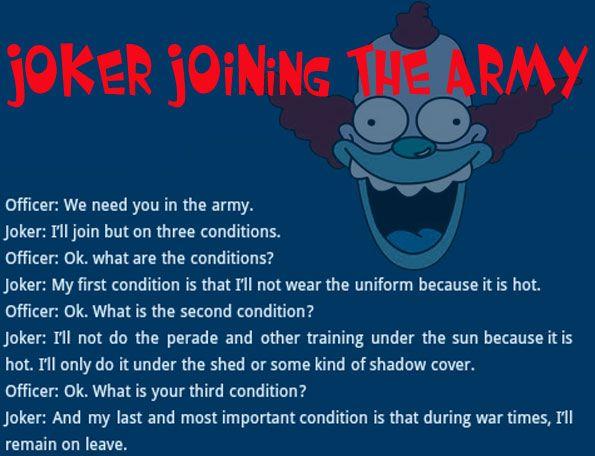 Joker Jokes  |  Simpson Joke  |  #Army Joke  |  Funniest Joke  |  Coolest Joke  |  #BestJoke  |  #LOL  |  Real #Joker  |  #American Humor  |  #Dry Humor
