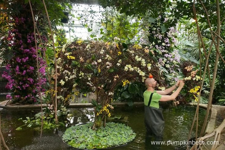 Master Florist Henck Röling, puts the finishing touches to a wonderful elephant he constructed for the 2018 Orchid Festival, at the Royal Botanic Gardens, Kew.
