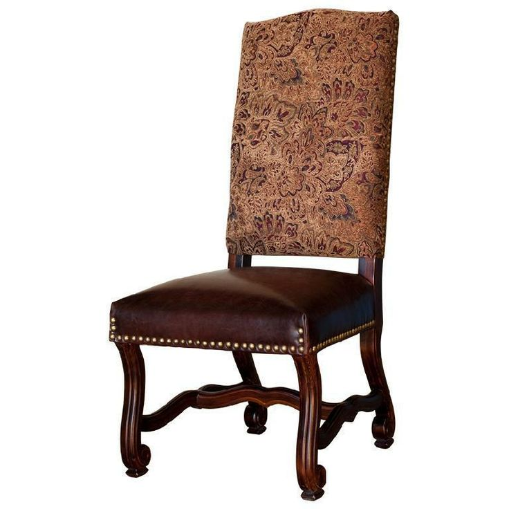 Tapestry And Leather Dining Chairs