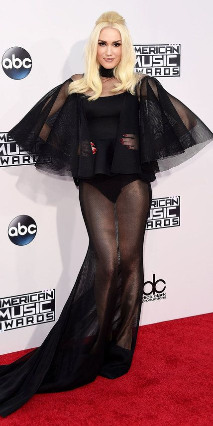 Gwen Stefani wowed in a dramatic sheer black outfit by Yousef Al-Jasmi.