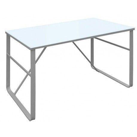 De diseño moderno esta Mesa de Escritorio quedará perfecto en cualquier lugar de tu casa. Es un escritorio compuesto por una estructura metálica con recubrimiento epoxi-poliester gris y cristal templado en color blanco.