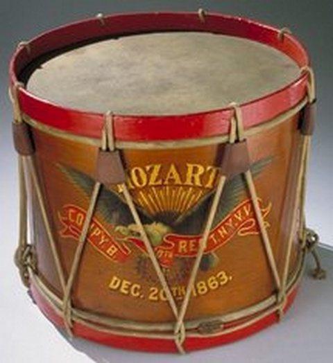 Elaborately painted Civil War drum... unusual to be so detailed.