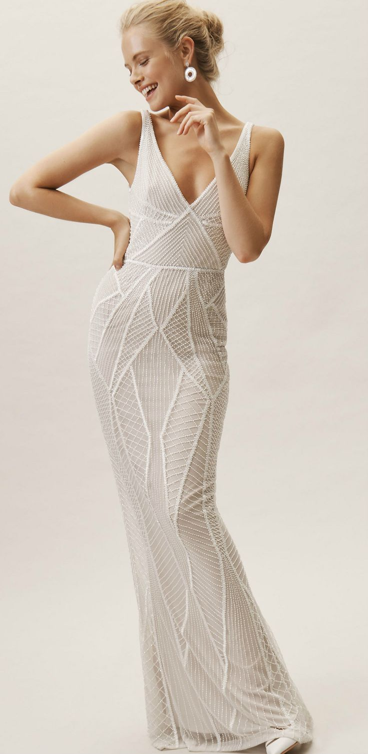 Modern Ivory Beaded Wedding Dress With V Neck And Geometric Beading Created By Rachel Gilbert Wedding Dresses Beaded Linen Wedding Dress Colored Wedding Gowns