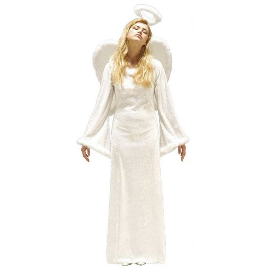 Engel kostuum compleet met jurk, vleugels en aureool. Bijpassende pruik verkrijgbaar onder artikelnummer 10023373.