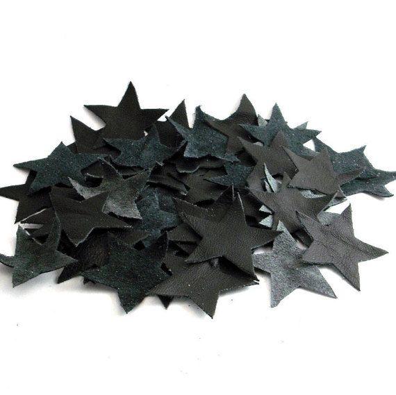artigianato genuino applicazioni in pelle per borse decorazioni accessori gioielli contemporanei DIY stella nero 50 pz ebooba 21-1-1-U-B