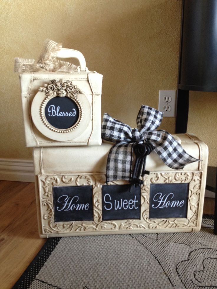 Chalk painted luggage