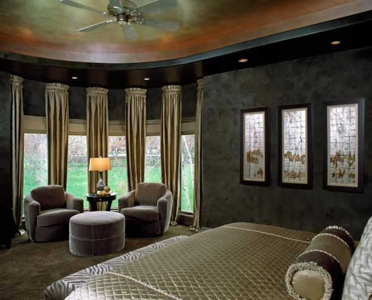 winning master bedroom design. Leather walls  rich silk window fabrics gorgeous mohair chairs and a custom faux paint ceiling took this master bedroom update to the next level 12 best Bedrooms By Design Connection Inc images on Pinterest