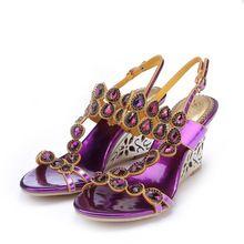 8 CM Púrpura de Las Mujeres Sandalias de Cuñas de la Hebilla de La Correa de Novia de La Boda Zapatos de Cristal Rhinestone de Las Señoras Zapatos de Fiesta Sandalias Femininas(China (Mainland))