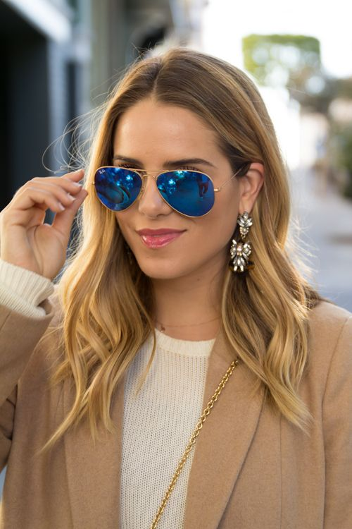 Aviator Sunglasses With Flash Lenses Gold Blue Mirror