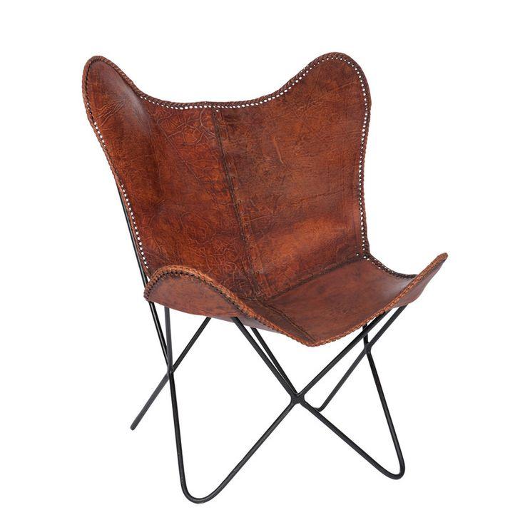 Fauteuil vintage en fer et cuir vieilli - coloris marron