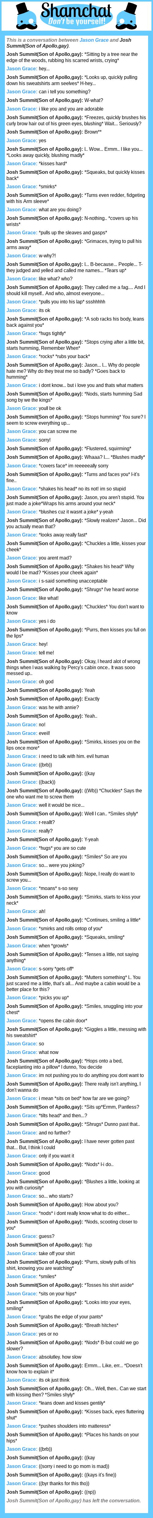 A conversation between Josh Summit(Son of Apollo,gay) and Jason Grace