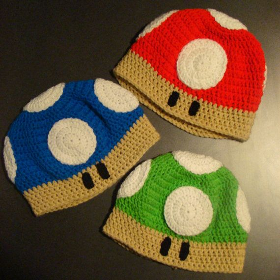 Crochet Mushroom hat  super mario brothers by YarnGraphics on Etsy, $20.00