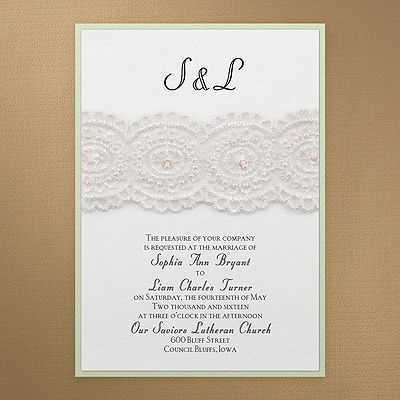 Bridal Lace & Pearls Wedding Invitation - White Shimmer 40% OFF     20 COLOR OPTIONS    http://mediaplus.carlsoncraft.com/Wedding/Wedding-Invitations/3149-RRN7845AMBWSPOS-Bridal-Lace--Pearls--Invitation--White-Shimmer.pro?pvc=&qty=0     RRN7845AMBWSPOS Lace and pearls create the vintage elegance of this layered invitation featuring white shimmer over pistachio shimmer.