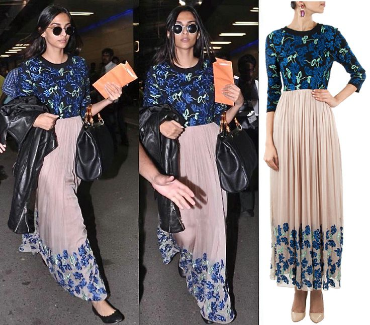 GET THIS LOOK: Sonam Kapoor looks extremely chic in this nude floral embroidered…