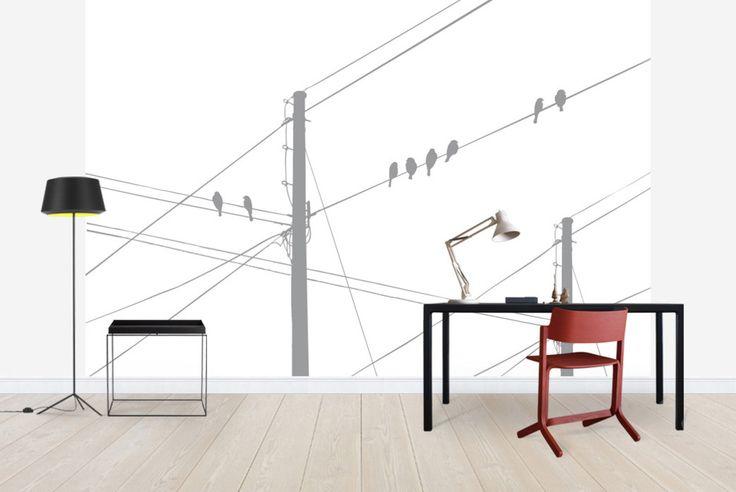Powerlines - Grey - Fototapeten & Tapeten - Photowall