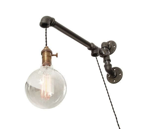 Industrial Pipe Wall Light Wall Light Pipe by WestNinthVintage