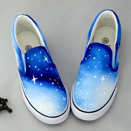 Star kawaii shoes cute ombre galaxy shoes