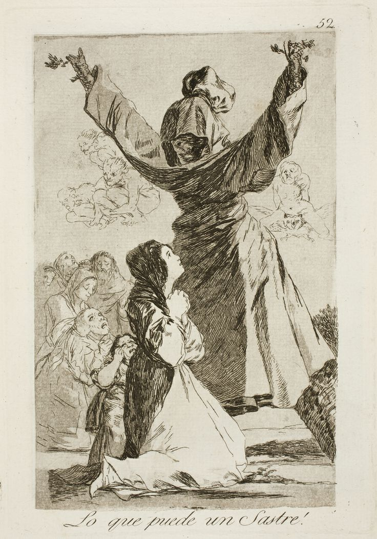 "Francisco de Goya: ""Lo que puede un Sastre!"". Serie ""Los caprichos"" [52]. Etching, aquatint, drypoint and burin on paper, 214 x 150 mm, 1797-99. Museo Nacional del Prado, Madrid, Spain"