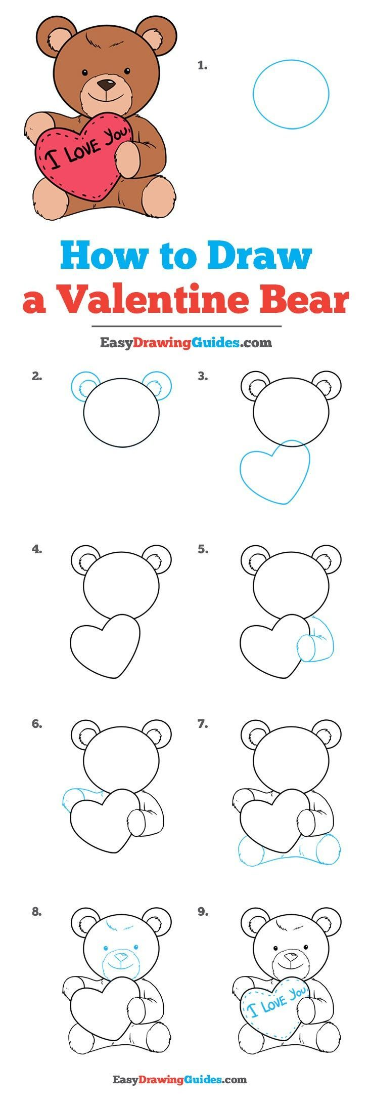 bear teddy draw valentine easy drawing heart valentines drawings tutorial tutorials beginners learn easydrawingguides step really steps things flowers dessin