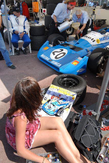 Painting a Matra at Monaco Grand Prix Historique in 2008