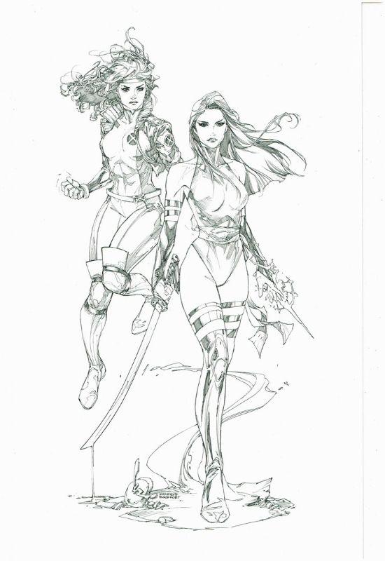 Kenneth Rocafort -- Psylocke & Rogue, in J.K.'s X-Men - Psylocke & Rogue Comic Art Gallery Room