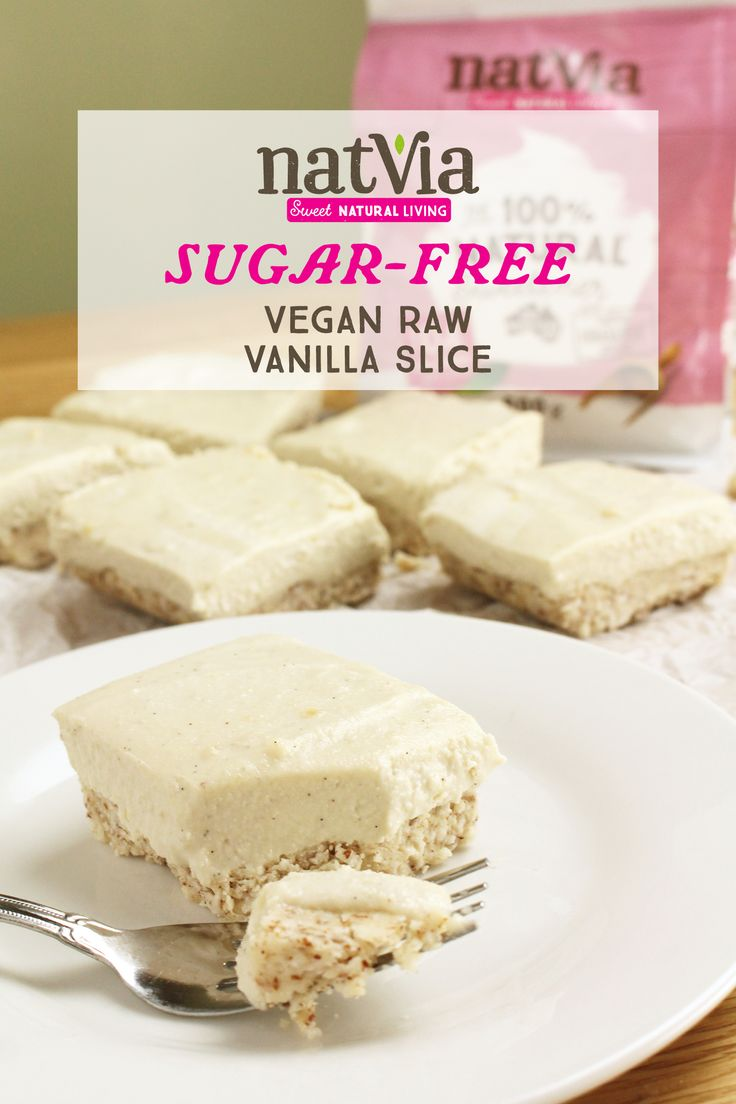 Bite into this #sugarfree, #raw, and #vegan, Vanilla Slice! This #dessert dish is the perfect excuse to treat yourself!  - Ingredients - 1 cup Almond meal ¾ cup desiccated coconut ½ cup Coconut oil, softened 1 tbs #Natvia                        CLICK FOR FULL RECIPE