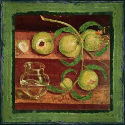 roman fresco of fruit.
