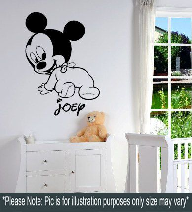 Large Disneys Baby Mickey Mouse Personalised Wall Sticker By Signz, £10.99 Part 68