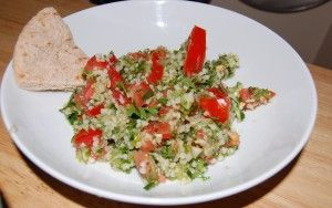 20 Delicious Mediterranean Recipes -  Tabouleh - A Cedar Spoon  2-3 large bunches of flat leaf parsley 1 bunch fresh mint, julienned or chopped 2 large tomatoes (or a container of cherry tomatoes, halved) 2-3 scallions, thinly sliced 2 cups cooked quinoa juice from half a lemon 2-4 tablespoon olive oil salt and pepper