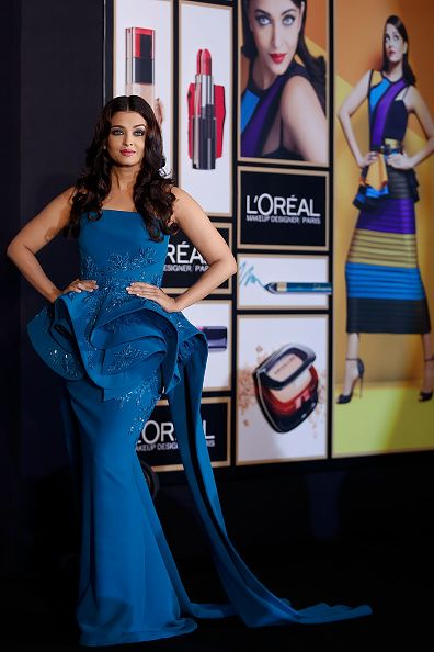 Aishwarya Rai attends the launch of the L'Oreal Paris India 2016 Cannes Collection wearing Azzi & Osta