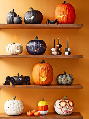 This Halloween, make your stoop the pride of the neighborhood with a parade of pumpkins that will delight trick-or-treaters.
