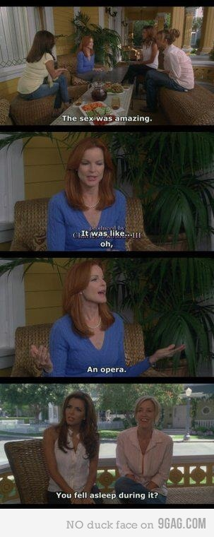 The sex was amazing.  It was like, oh, an opera. You fell asleep during it? -Bree and Gabrielle of Desperate Housewives