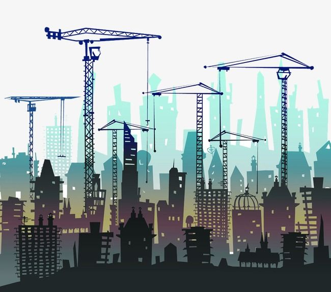 Crane And Construction Silhouette Construction Clipart