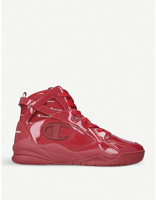 Champion Zone '93 patent leather high-top trainers