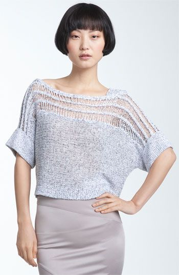 Free shipping and returns on VPL 'Peturus' Open Knit Sweater at Nordstrom.com. A cropped, stretch-knit sweater features sheer, threaded insets along the slight batwing sleeves and asymmetrical neckline.