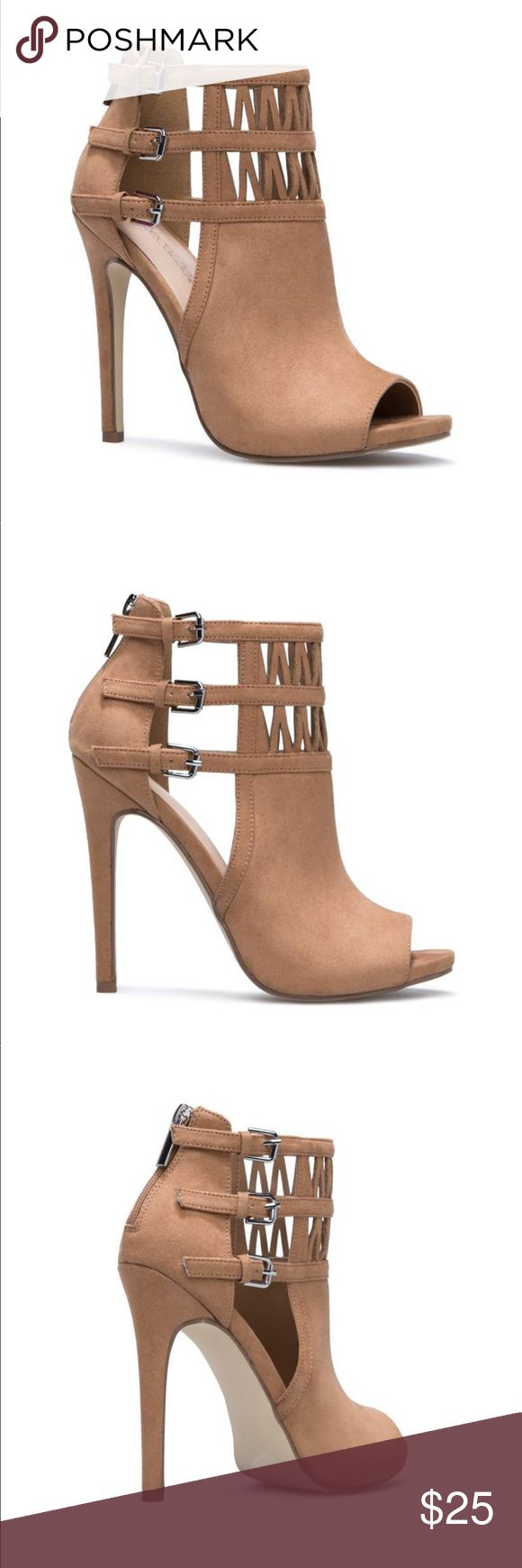 "Shoe Dazzle Heidi Camel Color Shoe Dazzle Heidi Pump Booties Color: Camel Size: 7.5 Feels like ""suede"" material Shoe Dazzle Shoes Heels"