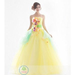 カラードレスロング ウエディングドレス エンパイア ウエディングドレス二次会 ウエディングカラードレス  カラードレス二次会花嫁 激安